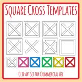 Square Cross / Barn Door Graphic Organiser Templates Clip Art Commercial Use