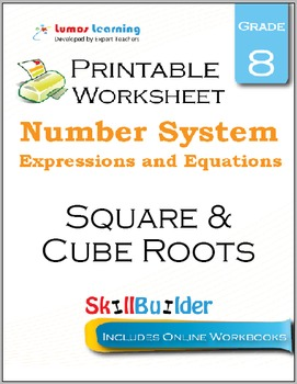 Square & Cube Roots Printable Worksheet, Grade 8