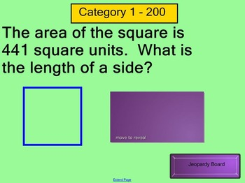 Square / Cube Roots and Pythagorean Theorem Jeopardy