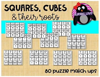 Square, Cubes and Thier Roots Puzzle Match Ups