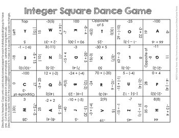 INTEGER Square Dance Match Game