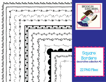 Square Decorative Skinny Borders (Pattern Collection #2) - 22 PNG Files