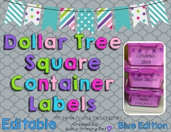 Square Dollar Tree Container Labels for 54oz Lock Top - Blue Edition