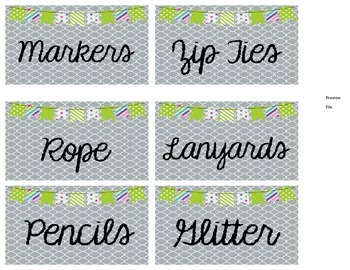 Square Dollar Tree Container Labels for 54oz Lock Top - Lime Green Edition