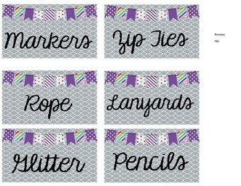 Square Dollar Tree Container Labels for 54oz Lock Top - Purple Edition