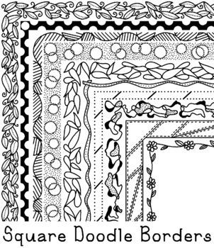 Square Doodle Borders Clip Art PNG JPG Blackline Commercial Personal