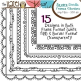 Square Doodle Frames & Borders Set: Graphics for Teachers