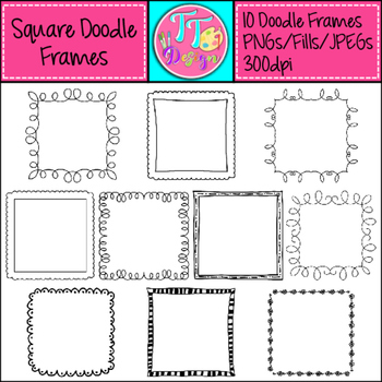 Square Doodle Frames Clip Art CU OK