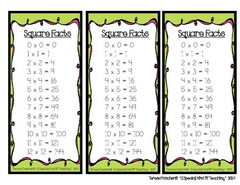 Square Facts Bookmark {FREEBIE}