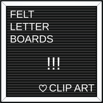 Square Felt Letter Boards Clip Art | Black Felt | ADD YOUR OWN TEXT!