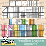 Square Fractions Clip Art (Thick Lines)