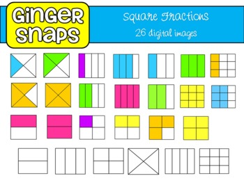 Square Fractions Clip Art Set