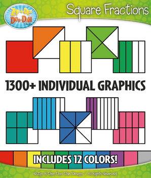 Square Fractions Clipart Set – Includes 1300+ Graphics!