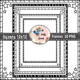Square Task Card Frames (Digital Borders for Commercial Use)