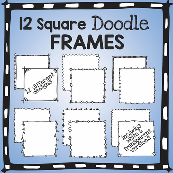 Square Frames-  Hand drawn, Doodle Style Borders
