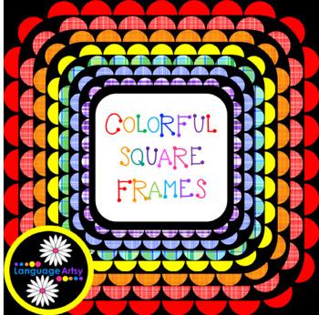 Square Frames, Rainbow Colors and Plaid, 30 Frames