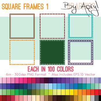 Square Frames Set 1 Clip Art in 100 Colors PNG and Vector EPS Commercial Use