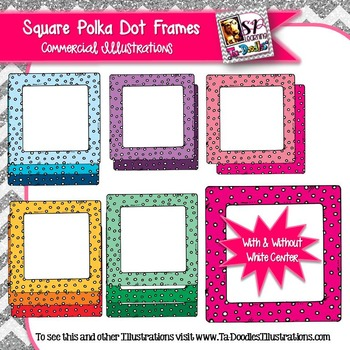 Square Frames with Polka Dots Clip Art
