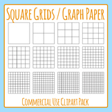 Square Grid / Graph Paper Commercial Use Clip Art Pack