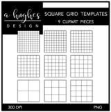 Square Grid Templates Clipart {A Hughes Design}