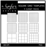 Square Grid Templates Clipart {A Hughes Design}