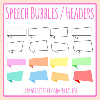 Square Headers or Speech Bubbles Attention Getters Clip Art Set Commercial Use