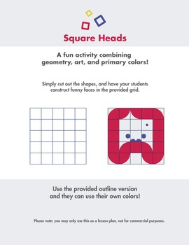 Square Heads - Fun art and geometry end of year activity.