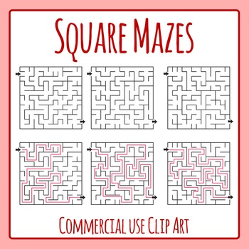 Square Mazes Clip Art for Commercial Use
