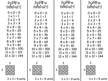Square Number Bookmarks