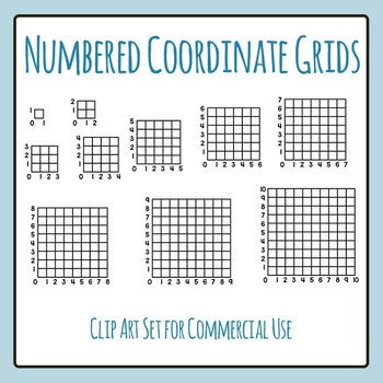 Square Numbered Coordinate or Graphing Grids Clip Art for Commercial Use