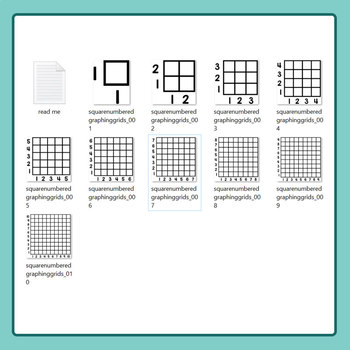 Square Numbered Graphing Grids Clip Art for Commercial Use