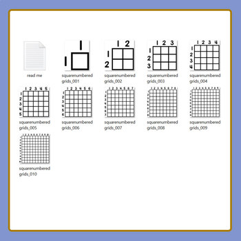 Square Numbered Grids Clip Art for Commercial Use