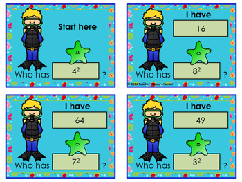 Square Numbers ~ Diving for Perfect Squares Game I HAVE...WHO HAS