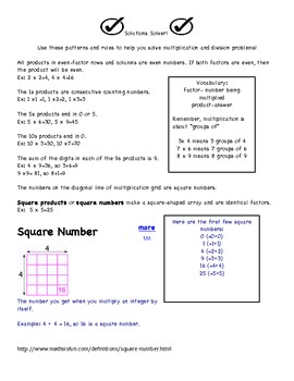Square Numbers Solutions Solver! math reference sheet