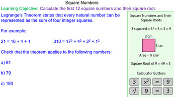Square Numbers and Square Roots Grade 4 Math Lesson