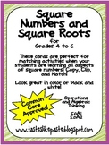 Square Numbers and Square Roots Manipulative Cards