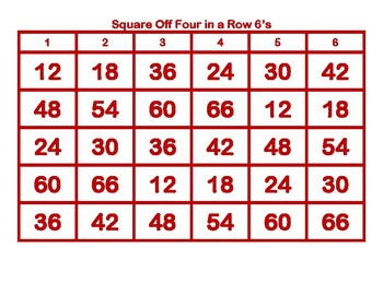 Square Off Four in a Row 6's
