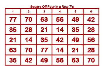 Square Off Four in a Row 7's