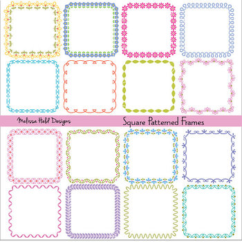 Clipart: Square Patterned Frames Clip Art