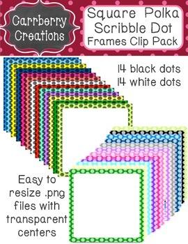 Square Frames Clip Pack   Sketchy Polkadots