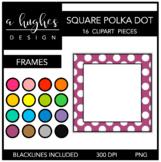 Square Polka Dot Frames Clipart {A Hughes Design}