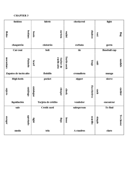 Square Puzzle - Clothing Vocabulary