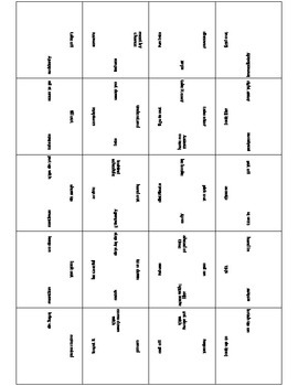 Square Puzzles for Noun/Verb Pairs and Idioms and Their Definitions