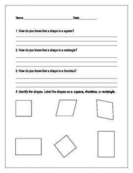 Square, Rhombus, Rectangle Identification