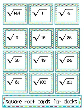 Square Root Cards for Clocks