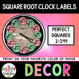 Square Root Clock Labels Perfect Squares