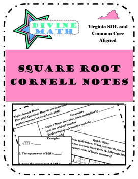 Square Root Cornell Notes- Virginia SOL