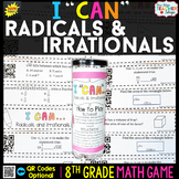 8th Grade Square Root Cube Root & Irrational Numbers Game