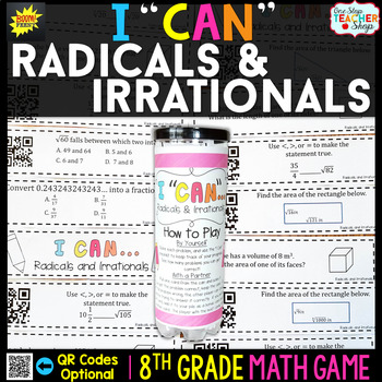 8th Grade Square Root, Cube Root, and Irrational Numbers Game