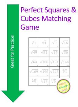 Square Root Cube root 8.EE.2 Matching Game - Flash Cards